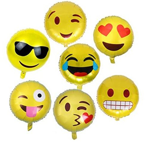 king's store,7pcs big smiling face of aluminum foil balloons, seven different smiling face, children balloon floating lovely smiling face at the party(Give two free animal head foil (Store Decorations)