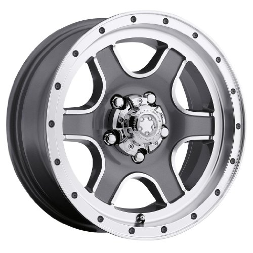 Ultra Nomad Trailer 15 Gray Wheel / Rim 5x4.5 with a 0mm Offset and a 83 Hub Bore. Partnumber 174-5665GN