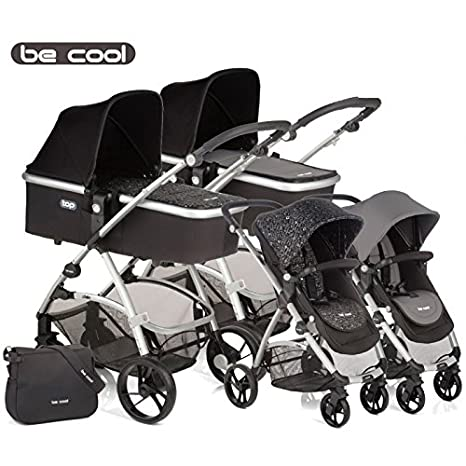 Be Cool - Coche de paseo dúo slide top estampado negro/gris ...