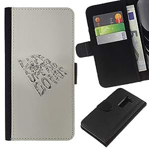 KingStore / Leather Etui en cuir / LG G2 D800 / La vida es un mensaje de la serie
