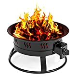 Cheap Best Choice Products 19in Adjustable Portable Propane Fire Pit Bowl Fireplace w/Decorative Rocks, 10ft Hose- Black