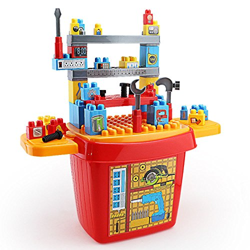(SZJJX Kids Tool Set Role Play Kits Pretend Play Toys Plastic Portable Deluxe Simulation DIY Repair Disassemble Playset with Working Desk)