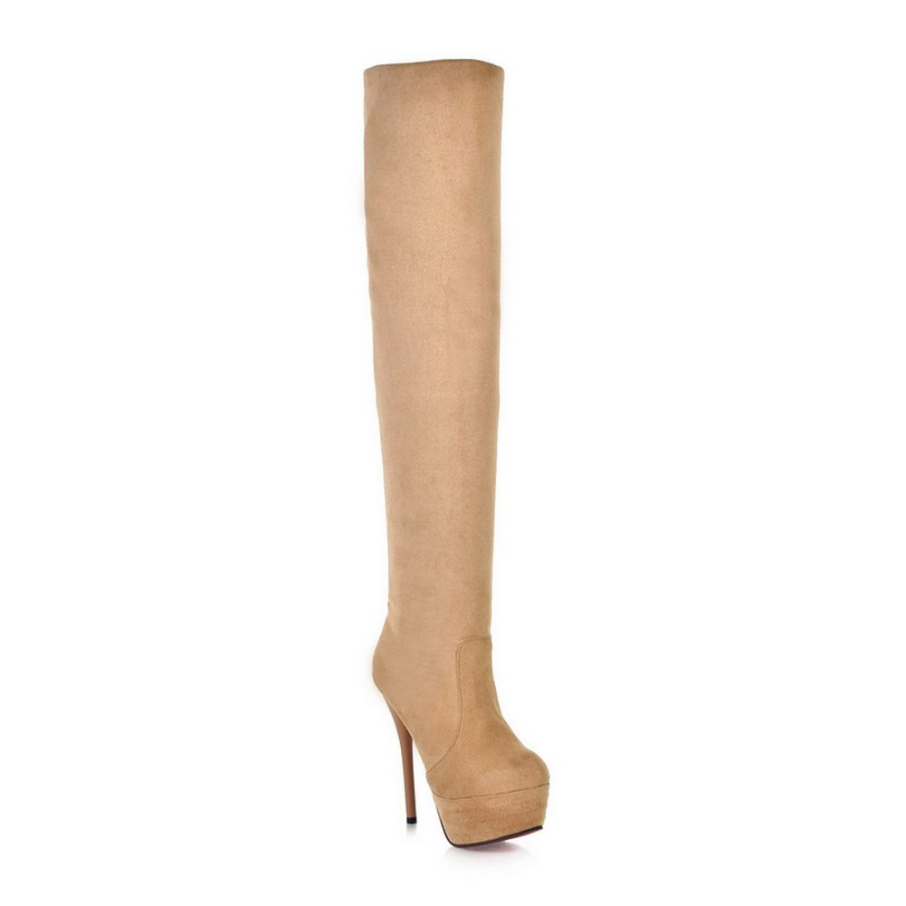 Ladola Womens Platform Stiletto Foldable Frosted Boots