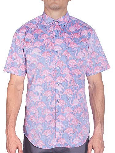 - Hawaiian Shirts for Men | Pink Flamingo Short Sleeve Button Down Floral Mens Shirt 3XL