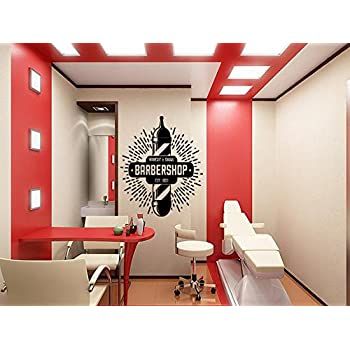 Barber Shop Emblem Wall Vinyl Decal Housewares Barbershop Logo Art ...