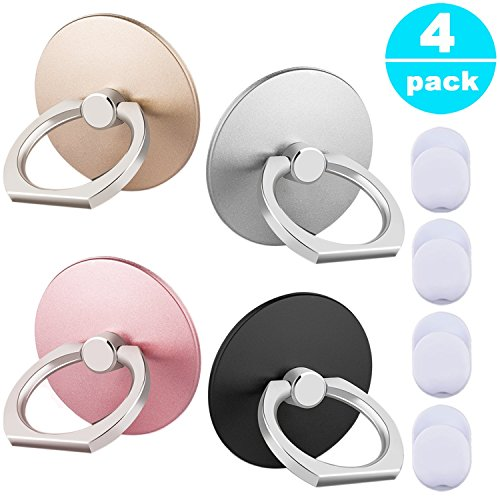 (Phone Ring Stand Holder 4 Pack - 360°Rotary Finger Grip Stand Holder Ring - Car Mount Universal Smartphone Kickstand for iPhone/Samsung/Galaxy/Phone Case)