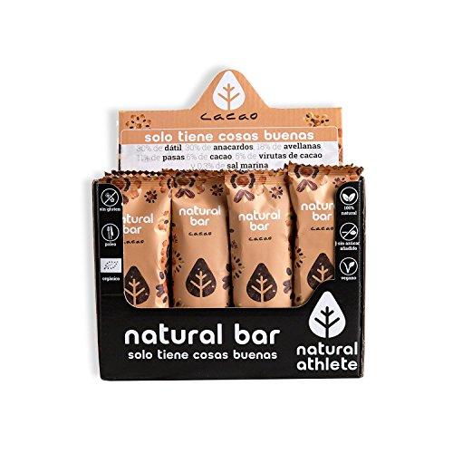 Barritas Energéticas Cacao Natural Athlete, Sin Azúcar Añadido, 100% Natural, Sin Gluten, Vegana, Sin Aceite de Palma -Pack 4×40 g
