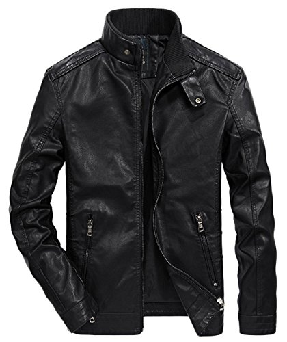 Chouyatou Men's Vintage Stand Collar Zip-Front Rugged PU Leather Jacket (Large, Black) (Pu Solid Stand Collar)