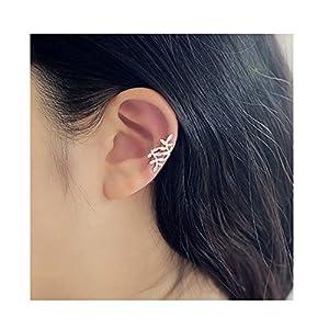 LIAOYLY Women Earring Ear Cuff Clip Mental Leaf Earrings Wrap No Piercing Gold Silver/Color Jewelry silver onesize