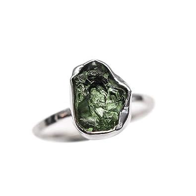 Crystal Nation Free Shape Moldavite Silver Ring: Amazon co