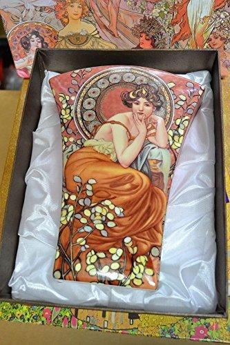 Alphonse Mucha Ruby Porcelain Flower Vase In Gift Box New Limited