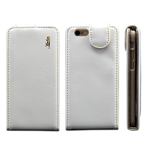 Iphone 6 Ultra-Soft Genuine White Leather Flip Case Cover with Two Card Slot for Apple Iphone 6 by G4GADGET®