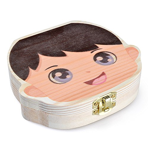 StarsTech Cute Colorful Baby Teeth Box Wooden Milk Teeth Case Baby Shower Gift Boy Girl Types (boy)