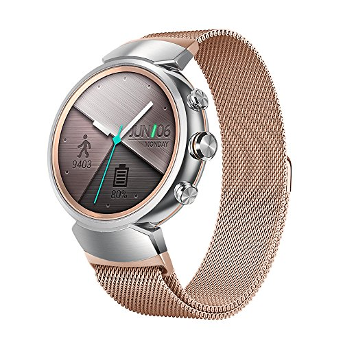 EloBeth for ASUS ZenWatch 3 Band , Milanese Watch Band 14mm Mesh Replacement Watch Bracelet Stainless Steel Watch Strap for ASUS ZenWatch 3 Watch (RoseGold)