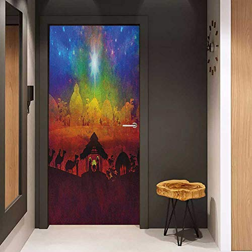 (Onefzc Wood Door Sticker Abstract Vibrant Birth Scene in Bethlehem Christmas Inspiration Camels Exotic Tribal Trees Easy-to-Clean, Durable W30 x H80)