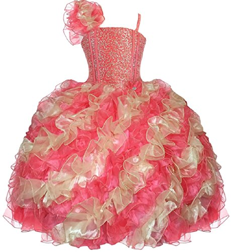 Little Girls Princess Pageant Girl Ball Gown Flowers Girls Dresses Coral Gold 6 by Dreamer P