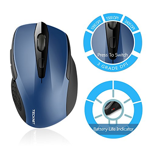 TeckNet Pro 2 4G Ergonomic Wireless Mobile Optical Mouse with USB Nano  Receiver for Laptop,PC,Computer,Chromebook,Macbook,Notebook,6 Buttons,24  Month