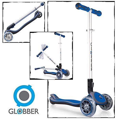 Elite 3 Wheel Scooter - Globber Elite 3 Wheel Folding Adjustable Height Scooter (Dark Blue)