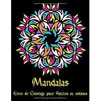 Mandalas: 95 Mandalas pour adultes sur fond noir pour des couleurs fantastiques   Modèles de coloriage gratuits au format PDF pour impression