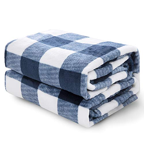 Bedsure Flannel Plaid Throw Blanket - Buffalo Plaid/Buffalo Check Throw Size, 50 x 60 inches, Navy/White