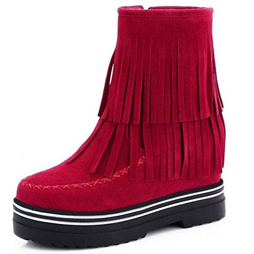COOLCEPT Damen elegante klassische Plattformschuh -Absatz Fransen Stiefel mit Reißverschluss Rot
