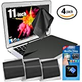 """Clean Screen Wizard Microfiber Screen Protectors and Screen Cleaner Kit Bundle, 4 PACK (3 Large Cloths/ Keyboard Covers) & Microfiber Cleaning Sticker for Laptops- Tab 11"""" Screen"""
