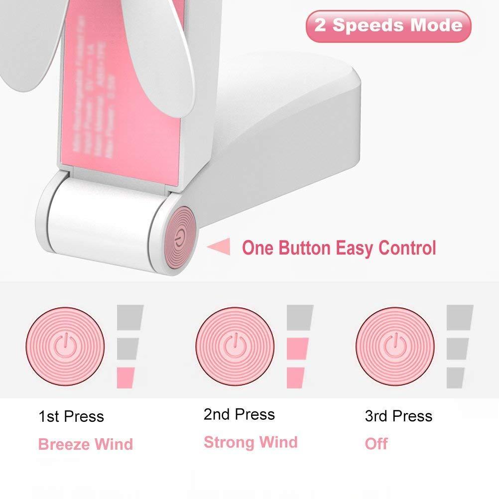 Flysea Mini Handheld Fan, Small Personal Fan Purse Fan Portable Fan Pocket Fan Mini USB Rechargeable Fan Adjustable Wind Speed Foldable Electric Fan for Camping Room Outdoor Home Hiking Picnic, Pink
