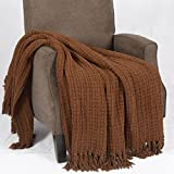 Home Soft Things Space Yarn Knitted Throw Couch Cover Sofa Blanket, 50' x 60', Charcoal Grey