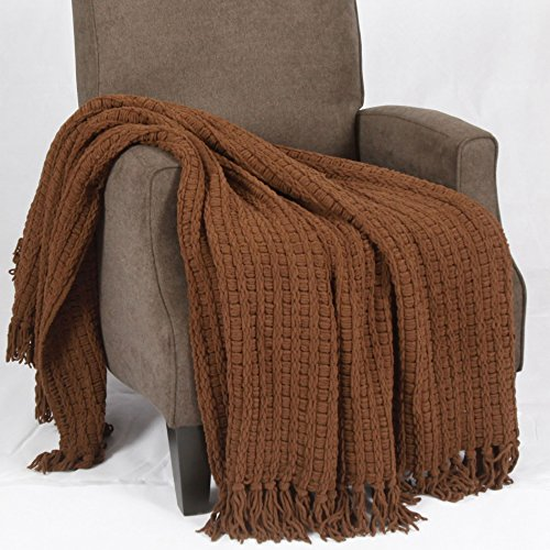 Home Soft Things Space Yarn Knitted Throw Couch Cover Sofa Blanket, 50