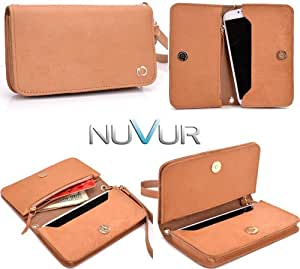 "Tan Genuine Leather|Devine| Clutch Phone Cover Wallet Pouch Fits ZTE Blade III + NuVur &153; Key Chain ""SSMLVVT1"""