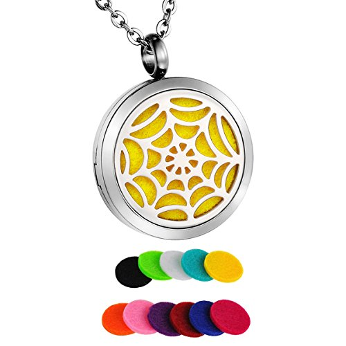 HooAMI Spider Web Aromatherapy Essential Oil Diffuser Necklace Stainless Steel Locket Pendant