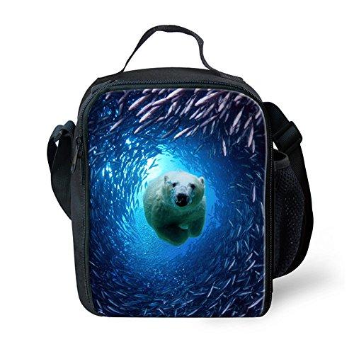 Dellukee Small Lunch Bag Funny Children School Lunch Box With Zipper Underwater World Polar Bear Print Soft Adjustable Shoulder Strap Durable Handbag Tote Bag For Boys Girls