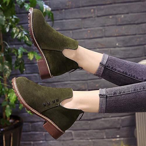 Martain Casual Botines Planos Boot Botas Mujer Verde Plataforma Tacon Boots Punta De Moda Redonda Zapatos Logobeing Slip Suede on xYwvpqx