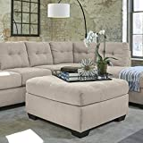Pitkin Contemporary Pebble Tan Color Fabric Oversized Accent Ottoman