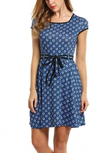 aa84e7e6a34b53 ... Blumen Gürtel Zeagoo Kleid Mit Sommerkleid Elegant Blau Jerseykleid  Damen Partykleid Vintage A-linie ...