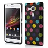 JUJEO Polka Dots TPU Case for Sony Xperia SP C5303 C5302 C5306 M35h - Colorized Dots - Non - Retail Packaging - Black