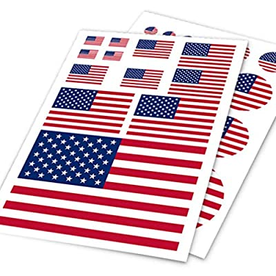 PRETYZOOM American Flag Patriotic Stickers for 4th of July Patriotic USA Label Vinyl Car Sticker Decal (Round Shape): Toys & Games
