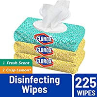 225-Count Clorox Disinfecting Bleach Free Cleaning Wipes, Fresh Scent & Lemon Fresh