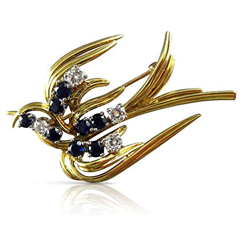 (Milano Jewelers 1.70CT Diamond & AAA Sapphire 18KT Yellow Gold 3D Bird Brooch PIN #23874)