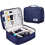 Rosoz Adjustable Travel Electronics Organizers, Waterproof Electronic Bag, Travel Gadget Bag for Cables, Power, Memory Cards,Flash Hard (Navy Blue)