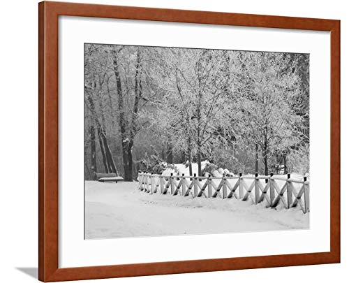 ArtEdge Winnipeg Manitoba, Canada Winter Scenes Keith Levit, Brown Framed Matted Wall Art Print, 18x24 in (Winter Winnipeg Manitoba Canada Scenes)