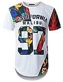URBANTOPS Mens Hipster Hip Hop Cali 97 Tropical Longline T-Shirt White, XL