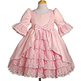 Dressy Daisy Girls Lace Satin Victorian Princess Flower Girl Dresses Pageant Party Dress Size 3-4T Pink