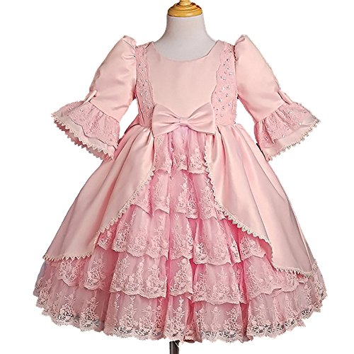 Dressy Daisy Girls Lace Satin Victorian Princess Flower Girl Dresses Pageant Party Dress Size 3-4T Pink (Girls Victorian Dress)