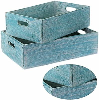 2 madera cajas de vino madera caja de fruta (Macetero decorativo ...