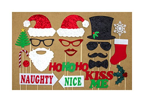 Christmas Photo Booth Props Beautiful Crushed Velvet and Stiff Felt Construction Mr and Mrs Santa Clause , Frosty Snowman, Naughty and Nice, Mistletoe and More Holiday Theme Fun 20 Piece Set