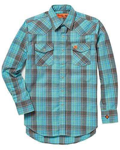 Blue Twill Wrangler Shirt (Wrangler Men's Turquoise Flame Resistant 20X Western Shirt Turquoise X-Large)