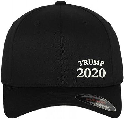 Dark Gray Flex Fit hat w// USA FLAG AND TRUMP 2020 Make America Great Again Hat
