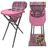 LOTMART Girls Pink Baby Doll Feeding High Chair Role Play Folding Toys Xmas Fun Gift New and FREE GIFT Lotmart promotional pen with every parcel