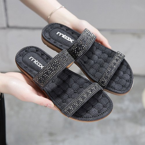 Slippers HAIZHEN Women shoes Spring And Summer Fashion Casual Sandals Beach Shoes Black/Blue for Women (Color : Blue, Size : EU36/UK4/CN36) Black